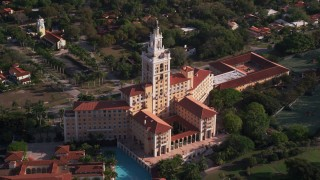 AX0024_019 - 5K stock footage aerial video of a view of the Coral Gables Biltmore Hotel, Coral Gables, Florida