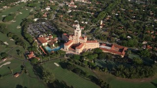 AX0024_020 - 5K stock footage aerial video of flying by the Coral Gables Biltmore Hotel, Coral Gables, Florida