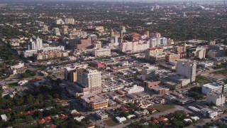 AX0024_022 - 5K stock footage aerial video of flying by office buildings, Coral Gables, Florida