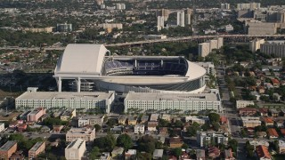 AX0024_028 - 5K stock footage aerial video of approaching Marlins Park Stadium, Miami, Florida