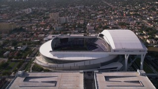 AX0024_032 - 5K stock footage aerial video of circling Marlins Park, Miami, Florida