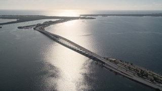 AX0024_048 - 5K stock footage aerial video of the Rickenbacker Causeway on Biscayne Bay, Florida