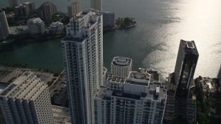 AX0024_060 - 5K stock footage aerial video of orbiting the Plaza on Brickell Tower 1, Downtown Miami, Florida