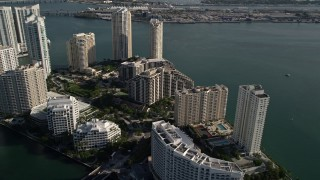 AX0024_061E - 5K stock footage aerial video fly over Mandarin Oriental to Brickell Key condos, Downtown Miami, Florida