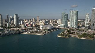 AX0024_065 - 5K stock footage aerial video of approaching American Airlines Arena, Downtown Miami, Florida