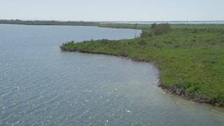 AX0025_042 - 5K stock footage aerial video of flying low over coastal mangroves, Model Lands Basin, Homestead, Florida