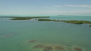 AX0025_072 - 5K stock footage aerial video of flying by coastal mangroves, Key Largo, Florida