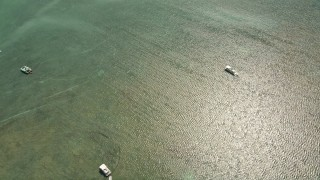 AX0025_115 - 5K stock footage aerial video bird's eye of fishing boats and catamarans off the shore, Islamorada, Florida