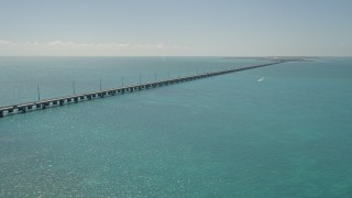 AX0025_143 - 5K stock footage aerial video of flying by Overseas Highway, approaching Conch Key, Marathon, Florida