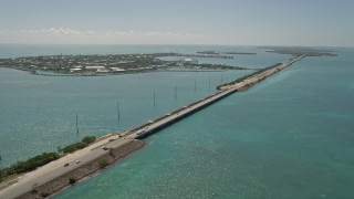 AX0025_149 - 5K stock footage aerial video of following Overseas Highway by Duck Key, Marathon, Florida