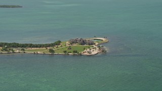 AX0025_157 - 5K stock footage aerial video of approaching mansion on Long Point Key, Marathon, Florida