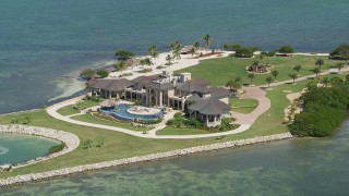 AX0025_160 - 5K stock footage aerial video of a mansion on Long Point Key, Marathon, Florida
