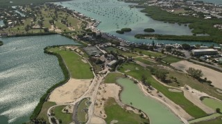 AX0026_008 - 5K stock footage aerial video fly over Sombrero Country Club, approach Boot Key Harbor, Marathon, Florida
