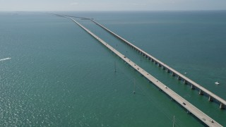 AX0026_015 - 5K stock footage aerial video of the Seven Mile Bridge, Marathon, Florida