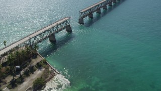 AX0026_039 - 5K stock footage aerial video of flying over Old Bahai Honda Bridge; Bahai Honda Key, Florida
