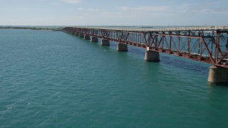 AX0026_040 - 5K stock footage aerial video of flying by Old Bahai Honda Bridge, Spanish Harbor Key, Florida