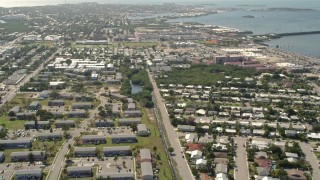 AX0026_061 - 5K stock footage aerial video of flying over neighborhood, revealing Poinciana Mobile Home Park, Key West, Florida