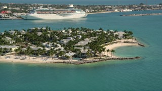 AX0026_092 - 5K stock footage aerial video of flying by homes and beaches, Sunset Key, Key West, Florida