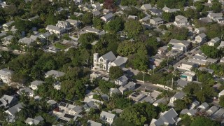 AX0027_020 - 5K stock footage aerial video of a church in a residential neighborhood, Key West, Florida