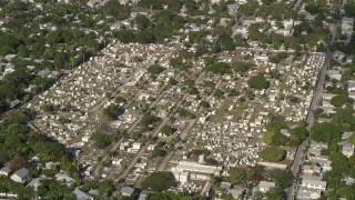 AX0027_021 - 5K stock footage aerial video of approaching Key West Cemetery, Key West, Florida