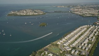 AX0027_024 - 5K stock footage aerial video of flying over Trumbo Point, approaching Sigsbee Park, Key West, Florida