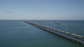 AX0027_073 - 5K stock footage aerial video of flying by Seven Mile Bridge, Florida