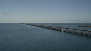 AX0027_073E - 5K stock footage aerial video of a truck on Seven Mile Bridge, Florida