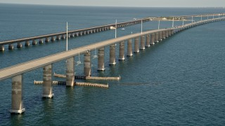 AX0027_081 - 5K stock footage aerial video of ascending next to a rise in Seven Mile Bridge, Florida