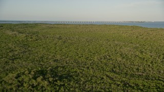 AX0028_016 - 5K stock footage aerial video of flying over mangroves, approaching Overseas Highway bridge, Long Key, Florida, sunset