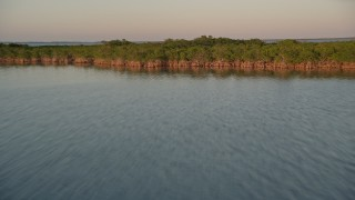AX0028_027 - 5K stock footage aerial video of flying low over water, approaching mangroves and flying over at sunset, Islamorada, Florida