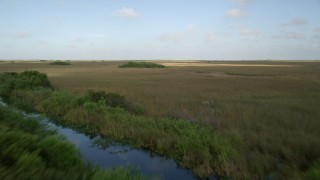 AX0030_011 - 5K aerial stock footage video of flying low over marshland, reveal river and birds, Florida Everglades, Florida