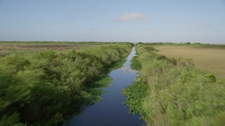 AX0030_012 - 5K stock footage aerial video of flying low over marshland, reveal river, Florida Everglades, Florida