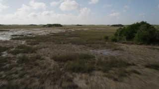 AX0030_049 - 5K stock footage aerial video of flying over marshland, Florida Everglades, Florida