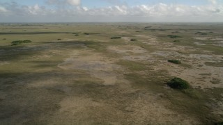 AX0030_053 - 5K stock footage aerial video of flying over marshland, wide view, Florida Everglades, Florida