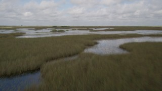 AX0030_076 - 5K stock footage aerial video of flying low over marshland, Florida Everglades, Florida