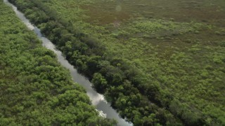 AX0030_090 - 5K stock footage aerial video of flying over a river in the Florida Everglades, Florida