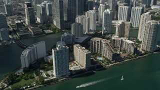 AX0031_036 - 5K stock footage aerial video of flying by skyscrapers and Mandarin Oriental on Brickell Key, Downtown Miami, Florida