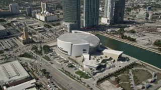 AX0031_039 - 5K stock footage aerial video of approaching American Airlines Arena, Downtown Miami, Florida