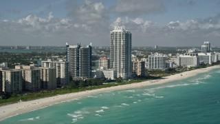 AX0031_063 - 5K stock footage aerial video of approaching Akoya Miami Beach Condo, Miami Beach, Florida