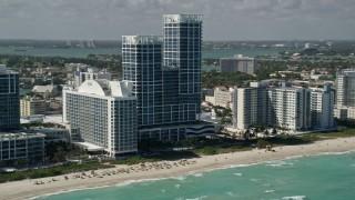 AX0031_065 - 5K stock footage aerial video of Canyon Ranch Hotel and Spa, Canyon Ranch Condo, Miami Beach, Florida