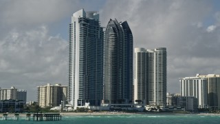 AX0031_077 - 5K stock footage aerial video of Jade Beach, Jade Ocean condominiums, Sunny Isles Beach, Florida