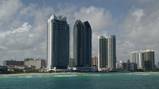 AX0031_078 - 5K stock footage aerial video of flying by Jade Ocean, Jade Beach condominiums, Sunny Isles Beach, Florida