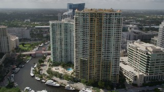 AX0031_115 - 5K stock footage aerial video of approaching skyscrapers, Downtown Fort Lauderdale, Florida