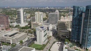AX0031_120 - 5K stock footage aerial video of Las Olas River Homes, Franklin Templeton building, Fort Lauderdale, Florida