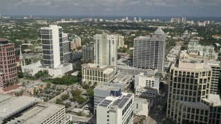AX0031_120E - 5K stock footage aerial video of Las Olas River Homes, Franklin Templeton building, Fort Lauderdale, Florida