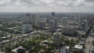AX0031_122 - 5K stock footage aerial video of flying away from Downtown skyscrapers, Fort Lauderdale, Florida