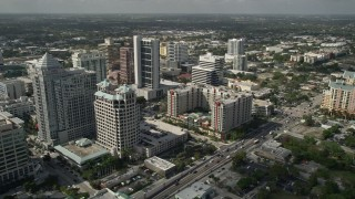 AX0031_127 - 5K stock footage aerial video of flying by Downtown skyscrapers, Marriott ExecuStay, Fort Lauderdale, Florida