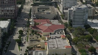 AX0031_128 - 5K stock footage aerial video of passing the First Baptist Church of Fort Lauderdale, Fort Lauderdale, Florida