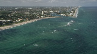 AX0031_154 - 5K stock footage aerial video of kite surfers off the coast, Pompano Beach, Florida