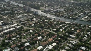 AX0031_176 - 5K stock footage aerial video fly over neighborhoods, reveal Intracoastal Waterway, Pompano Beach, Florida